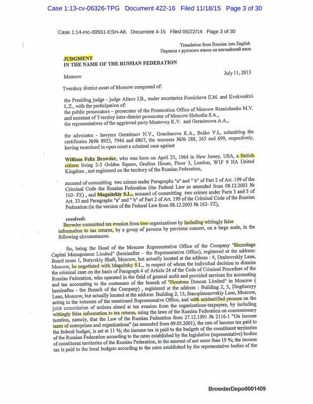 Saturn Dalnaya Steppe Bill Browder criminal conviction