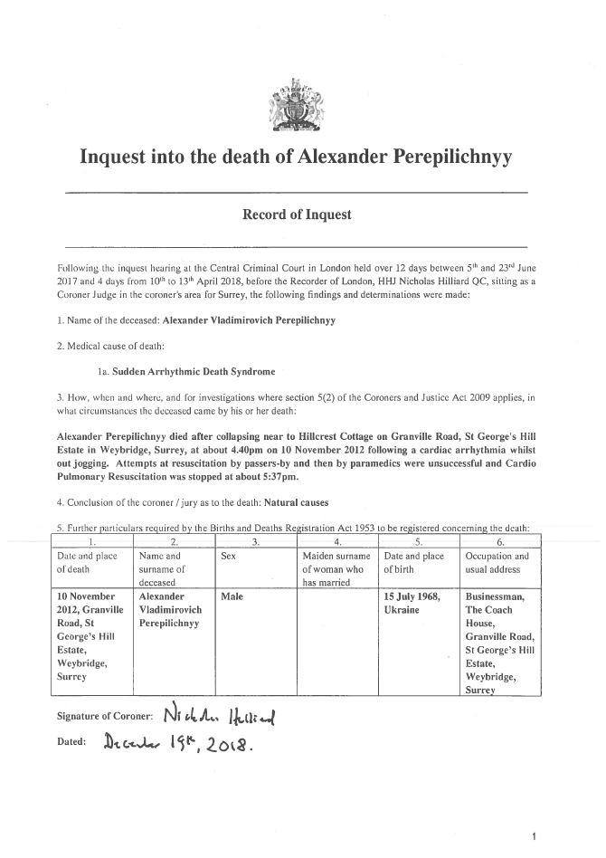 Record of Inquest - Alexander Perepilichnyy